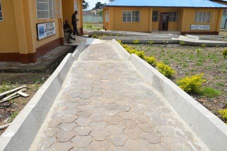 The paving stones here are made of recycled plastic water sachets melted down and mixed with sand